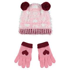 Ensemble bonnet en tricot poil et gants doublés sherpa
