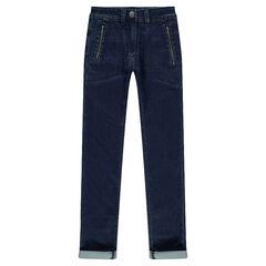 Junior - Jeans uit molton met used effect en zakken met ritssluiting