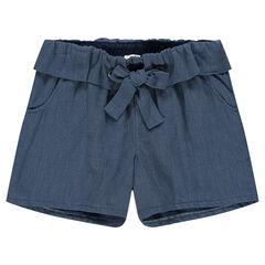 Junior - Short en voile de coton avec taille volantée