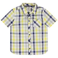 Chemise à carreaux contrastés et poche