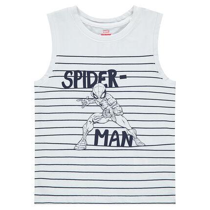 Tanktop van jerseystof met strepen en print van ©Marvel Spiderman