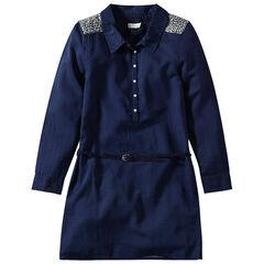 Junior - Robe chemise manches longues avec empiècements à sequins