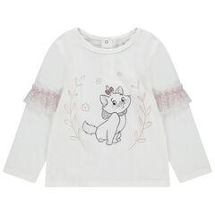 T-shirt manches longues avec volants en tulle léopard et Marie Aristochats brodée Disney