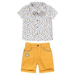 Ensemble van hemd met print en gele bermuda