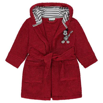 Badjas van badstof met Mickeypatch aan de kap