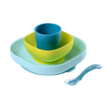 Eetset in siliconen met zuignap - Blauw