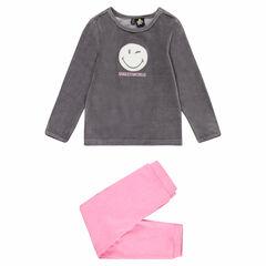 Pyjama met twee kleuren van velours en ©Smiley-patch