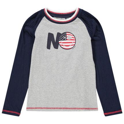 Junior - T-shirt manches longues en jersey bicolore print Smiley
