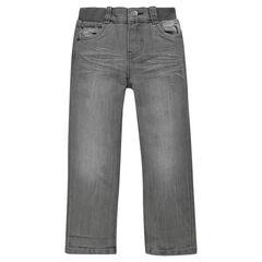 Jeansbroek met recht pasvorm used effect elastische tailleband