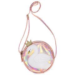 Iriserende schoudertas met opgestikte zwaan , Pomme Framboise