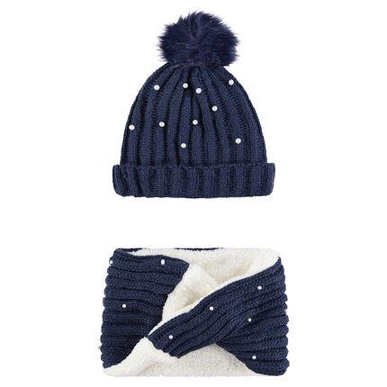 Junior - Ensemble bonnet et snood en tricot doublés sherpa avec perles fantaisie