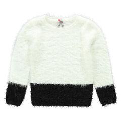 Pull bicolore en tricot fantaisie effet poils et patchs étoiles