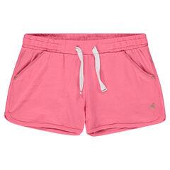 Short van jerseystof met print met roze flamingo