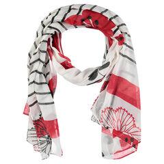 Sjaal van voile met bloem en contrasterende strepen