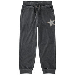 Junior - Pantalon de jogging en velours uni avec étoile en sequins