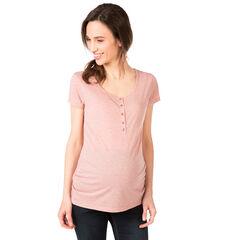 Gemêleerd zwangerschapsshirt met korte mouwen en gouden afspiegeling
