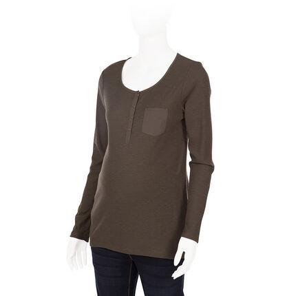 Zwangerschaps-T-shirt met lange mouwen en ribrand