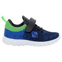 Lage sneakers met elastische contrasterende veters en klittenbandsluiting van maat 24 tot 29