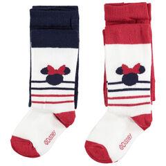 Set met 2 paar dikke panty's met Minnie Disney van jacquard en strepen