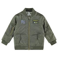 Kaki jasje met badges en zakken