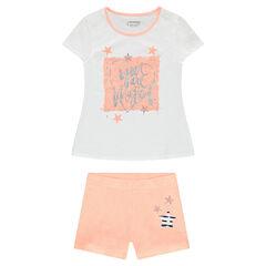 Junior - Pyjama van jerseystof met glanzende fantasieprint en sterren