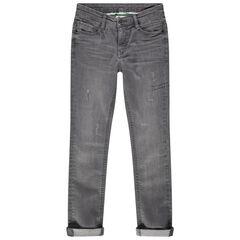 Junior - Jean gris effet used et crinkle avec usures
