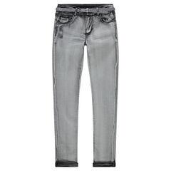 Junior - Jeans effet surteint avec ceinture pailletée