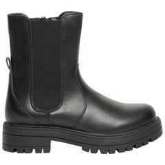 Demi-bottes noires à ouverture zippée pour enfant fille , SAXO BLUES