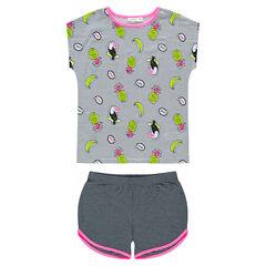 Junior - Pyjama van jerseystof met strepen en toekans