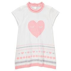 Robe manches courtes en tricot avec coeur en jacquard