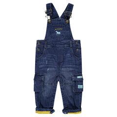 Tuinbroek van jeans met used-effect en voering van jerseystof met zakken
