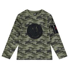 Junior - Tee-shirt manches longues imprimé camouflage avec poche