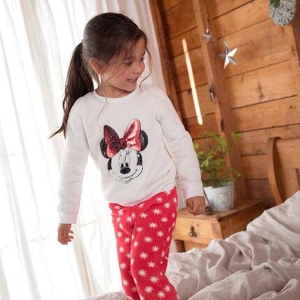 Pyjama van sherpastof in twee kleuren met Minnie Disney van lovertjes