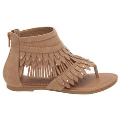 Sandalen met daimeffect en franjes