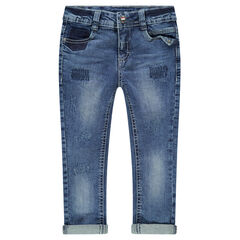 Slim-fit jeans met used en crinkle-effect, scheuren en decoratieve zakken