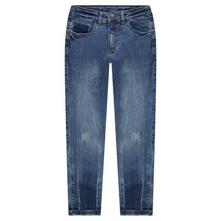 Junior - Jeans used-effect met zakken en de schaduw van zakken