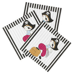 x 20 serviettes de table anniversaire en papier motif Pirate