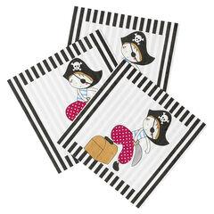 x 20 serviettes de table anniversaire en papier motif Pirate