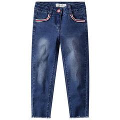 Jeans met used effect en losse snit met gestreepte banden