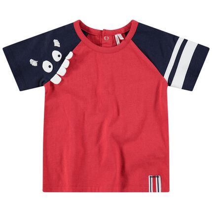T-shirt met korte mouwen in twee kleuren met monsterprint en reliëftanden
