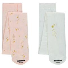 Set met 2 dunne panty's met blinkende sterren met print in het lichtroos/wit