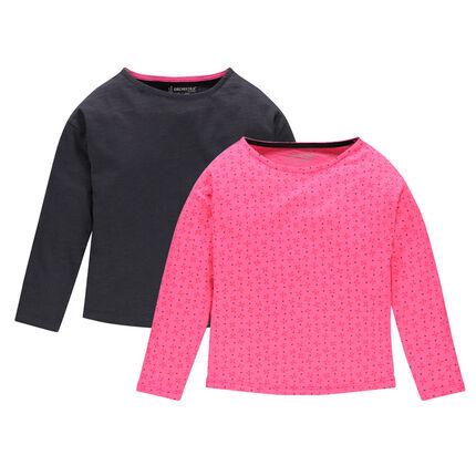 Lot de 2 tee-shirts manches longues en jersey uni/imprimé