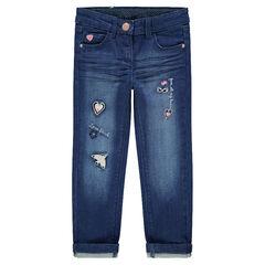 Jeans met used en crinkle-effect en geborduurde motieven op de broekspijpen