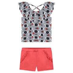 "Ensemble van kort T-shirt met print ""all-over"" en effen short"