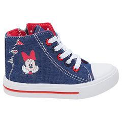 Hoge sneakers uit linnen met jeanseffect Disney Minniepint