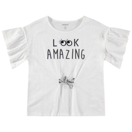Junior - T-shirt à manches courtes volantées et liens à nouer