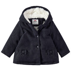 Manteau à capuche en maille doublé sherpa et petits noeuds