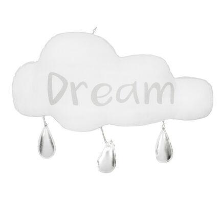 Hanglamp in de vorm van een wolk met druppels en boodschap