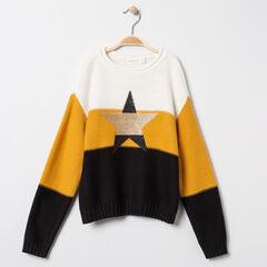 Pull en tricot tricolore à étoile pailletée