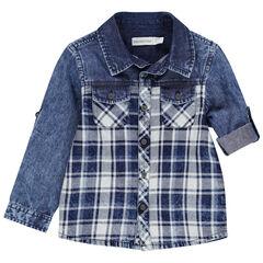 Chemise manches longues en jean à carreaux placés